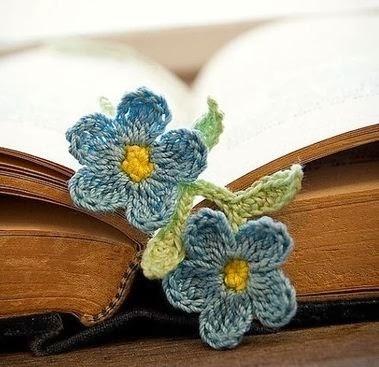 Закладки для книжки из цветочков крючком. Схемы цветов (38) (379x367, 90Kb)