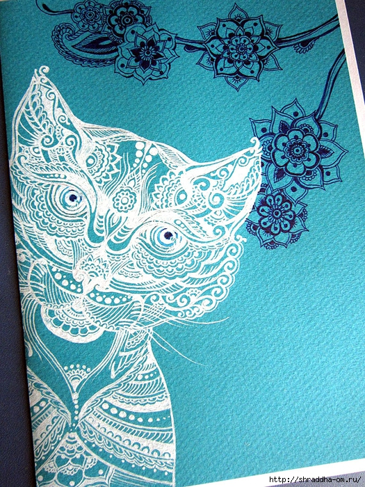 открытка Кот , автор Shraddha (1) (525x700, 484Kb)