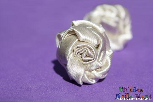 Как украсить свадебный фотоальбом. Розочки из ленточек крючком (10) (525x350, 62Kb)
