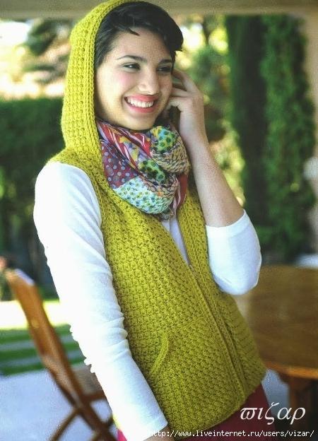 jersey chaleco con capucha tricot-crochet patron (450x624, 220Kb)