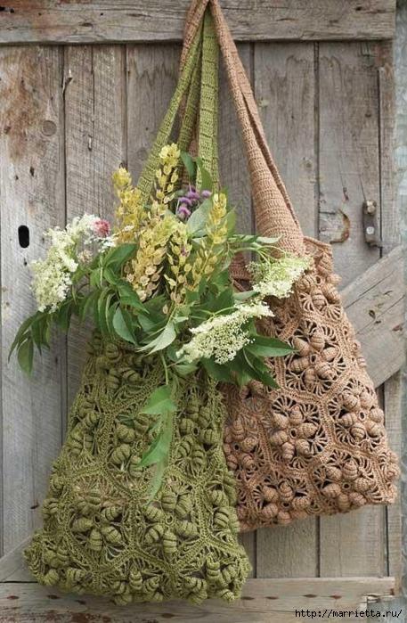 Очень красивая сумочка Авоська с объемными цветами (10) (457x700, 304Kb)
