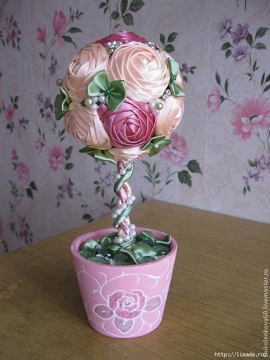 Топиарий цветы из атласных лент своими руками