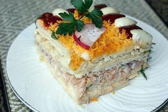 Рецепт рыбный салат с крекером