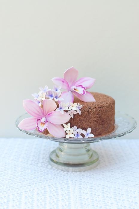 Orquídea de masilla de azúcar para pastel de chocolate con crema de coco (3) (464x700, 164KB)