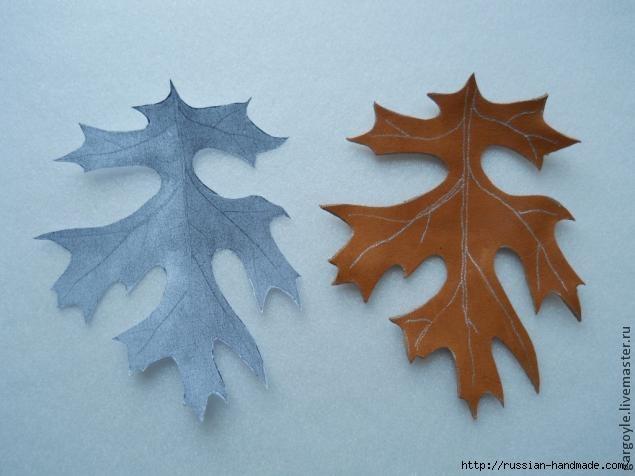Дубовый лист из кожи и желуди из деревянных бусин (4) (635x476, 110Kb)