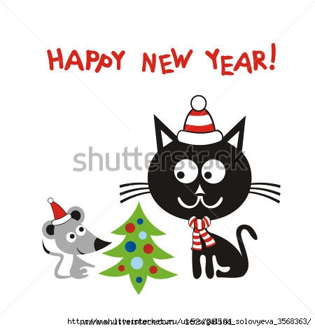 stock-vector-happy-new-year-greeting-card-cat-and-mouse-cartoon-vector-illustration-152498591 (450x470, 75Kb)