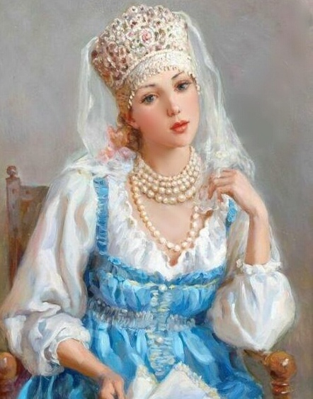 74691675_Pretty_girl_with_pearls_in_a_blue_dress (442x563, 217Kb)