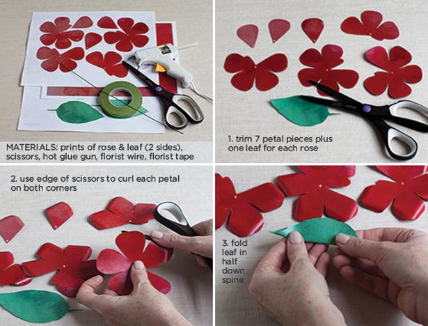 Розы из бумаги ко дню Святого Валентина. Шаблоны для распечатки (1) (615x468, 676Kb)