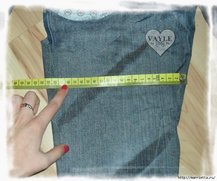 Как сшить жилет из старых джинсов (5) (700x583, 329Kb)
