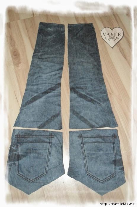 Как сшить жилет из старых джинсов (7) (463x700, 230Kb)