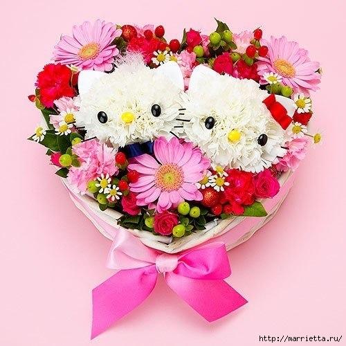 Кошечки из гвоздик. Замечательная идея букета ко Дню Святого Валентина (1) (500x500, 151Kb)