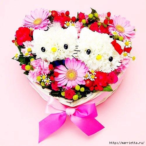 Кошечки из гвоздик. Замечательная идея букета ко Дню Святого Валентина (5) (500x500, 155Kb)