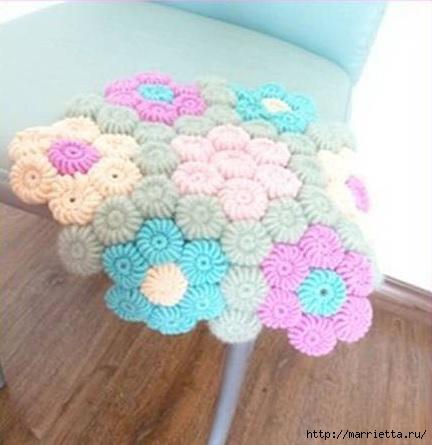 Цветочки крючком для вязания сидушки или коврика (1) (432x445, 93Kb)
