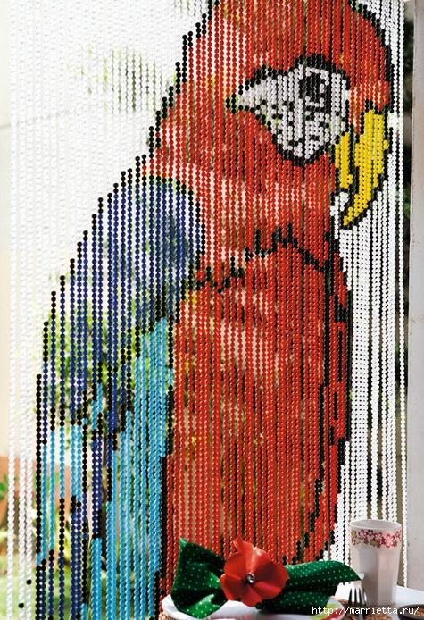 Шторка из бусин с попугаем. Схема (1) (475x694, 404Kb)