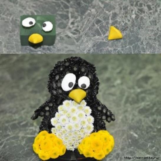 Los juguetes hechos de flores.  Pingüino de crisantemo (8) (547x548, 147Kb)