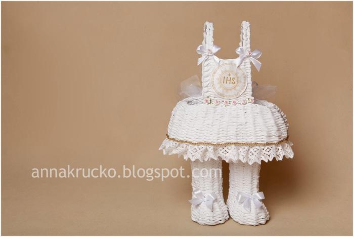 Платье-корзинка, плетеная из газетных трубочек мастер класс