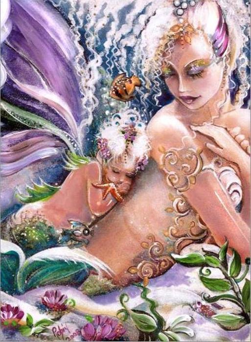 Вынырнула русалка Ночью на берег-ложе Иллюстратор Robin Pushay, фэнтези