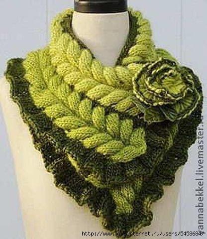 Азиатский колосок шарф схема вязания мастер класс