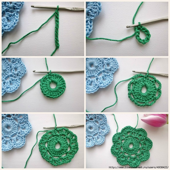 Вязание крючком мастер класс для начинающих цветов