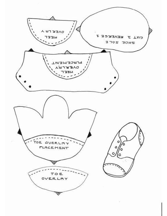 Ботинки для текстильной куклы своими руками выкройки 98