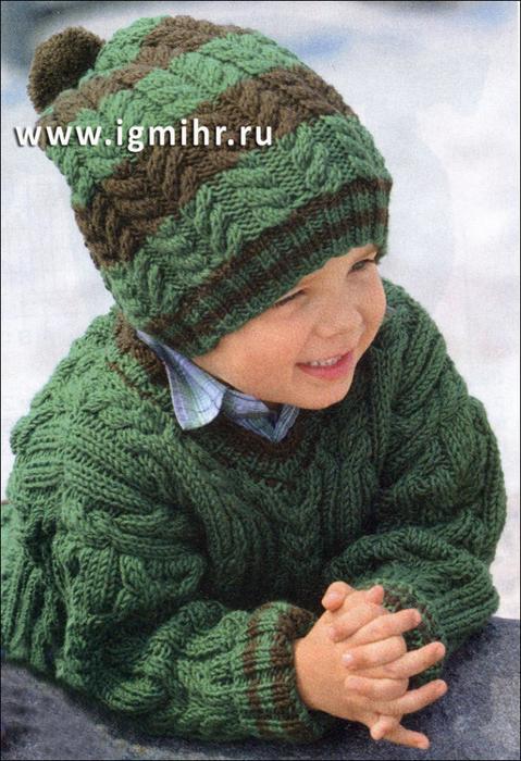 Вязанная шапка для мальчика 7 лет спицами
