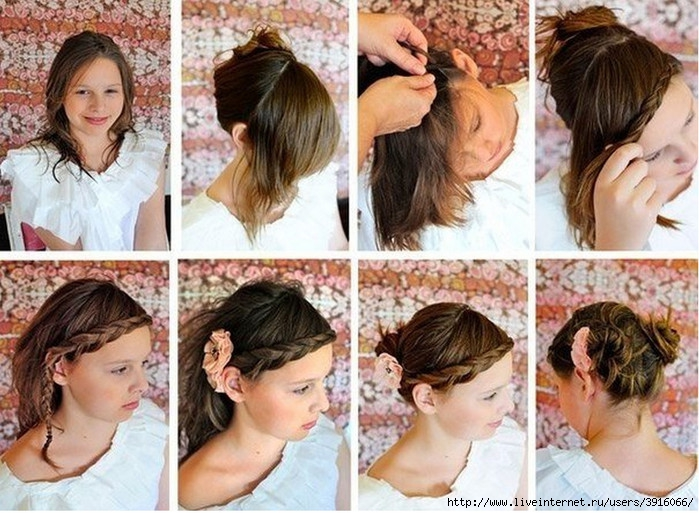 Прически для школы на короткие волосы в домашних условиях фото пошагово