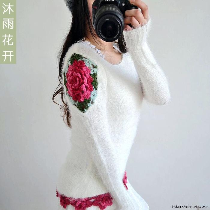 Роза на плече. Цветочная идея для вязаного пуловера (2) (700x700, 231Kb)