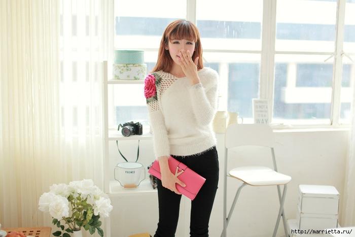 Роза на плече. Цветочная идея для вязаного пуловера (4) (700x467, 162Kb)