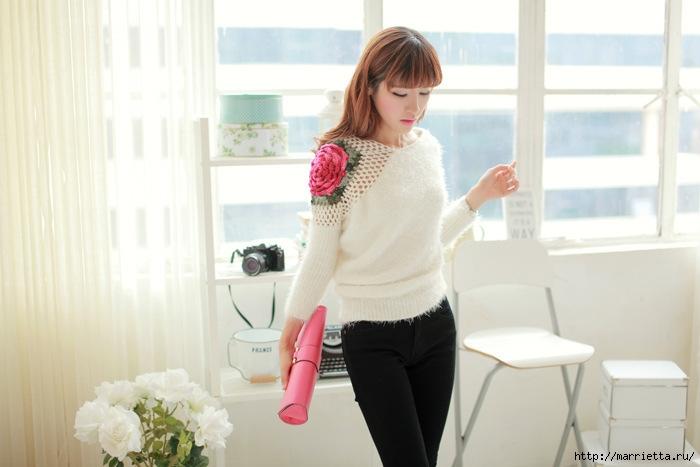 Роза на плече. Цветочная идея для вязаного пуловера (7) (700x467, 158Kb)