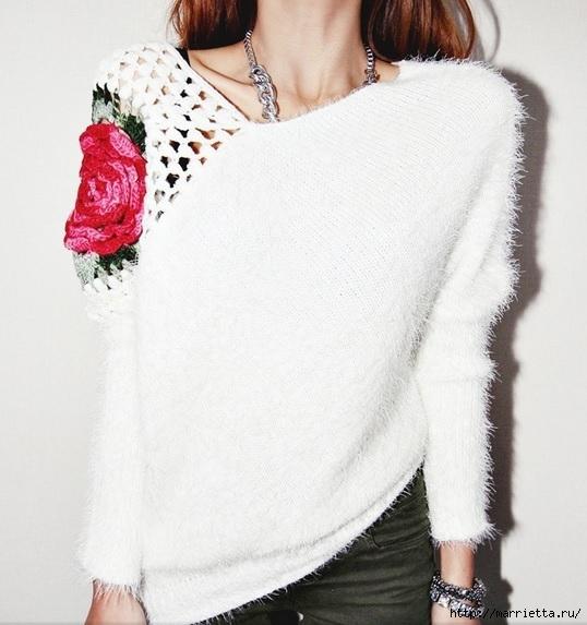 Роза на плече. Цветочная идея для вязаного пуловера (21) (538x573, 167Kb)