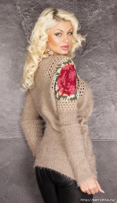 Роза на плече. Цветочная идея для вязаного пуловера (27) (405x700, 216Kb)