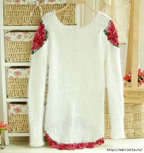 Роза на плече. Цветочная идея для вязаного пуловера (31) (488x516, 187Kb)