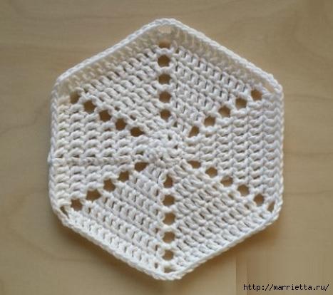 Вязание крючком. Прихватка с объемной розой (3) (467x414, 103Kb)