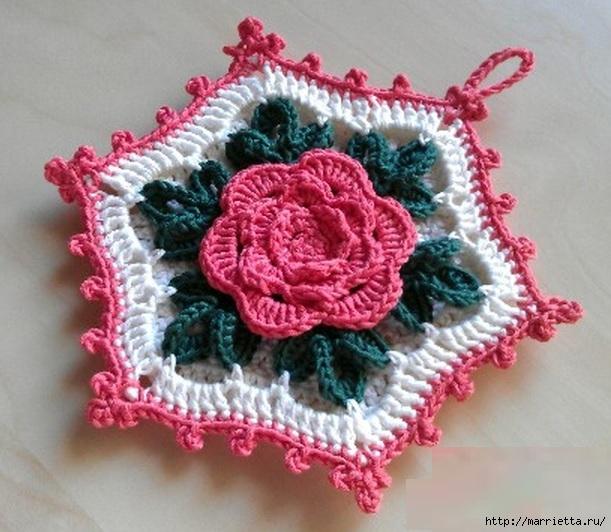 Вязание крючком. Прихватка с объемной розой (9) (611x532, 206Kb)