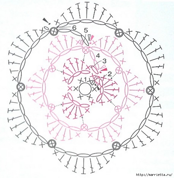 Вязание крючком. Прихватка с объемной розой (17) (577x590, 189Kb)