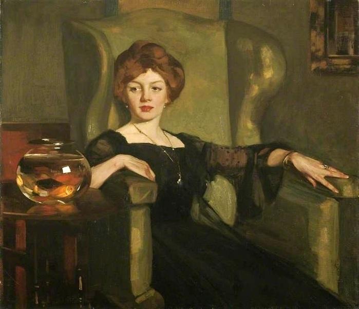 1George Henry (Scottish, 1858 - 1943) __Lady with goldfish (700x602, 101Kb)