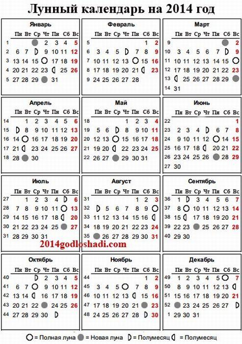 А здесь лунный календарь