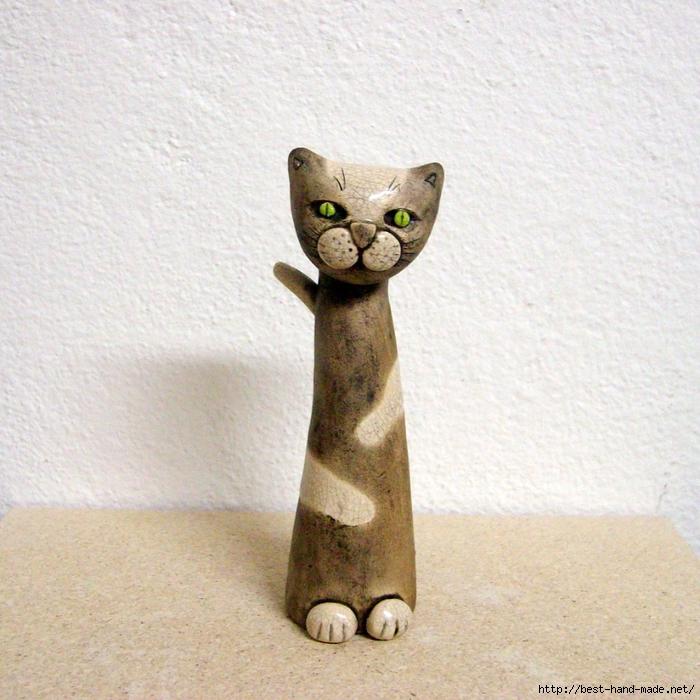 Как сделать кота из глины