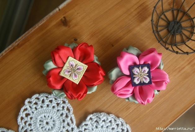 цветочки из ленточек для заколки (1) (628x425, 163Kb)