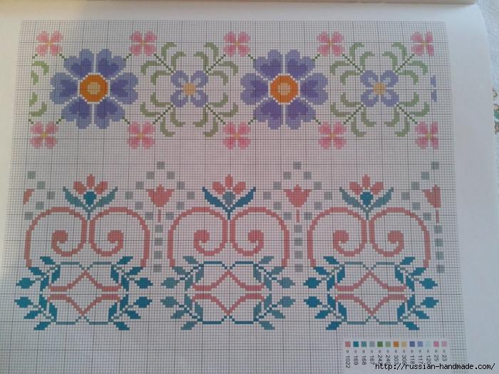 Схемы цветочной вышивки крестом для салфеток (4) (700x525, 311Kb)