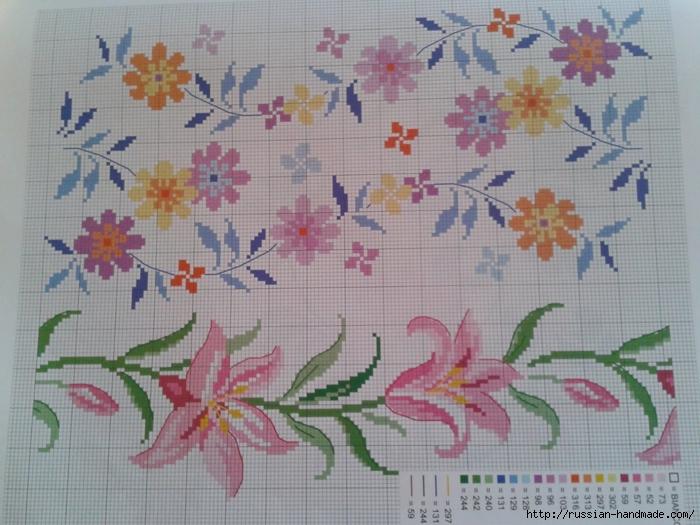 Схемы цветочной вышивки крестом для салфеток (6) (700x525, 285Kb)