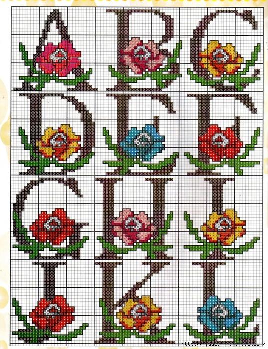 схемы вышивки крестом - цветы (1) (537x700, 455Kb)