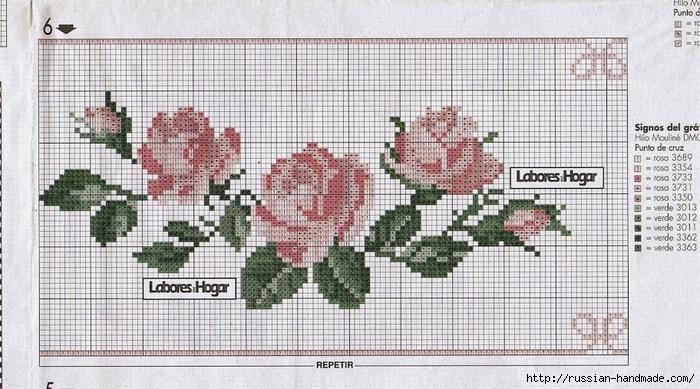 схемы вышивки крестом - цветы (6) (700x389, 281Kb)