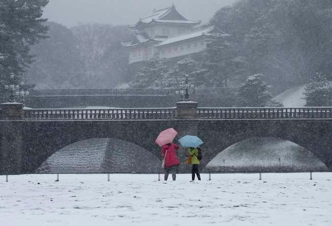 Зима. Токио засыпало снегом © Toru Hanai Reuters 2 (675x461, 120Kb)