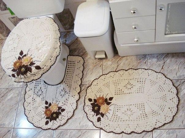 Вязанные коврики для туалета своим руками