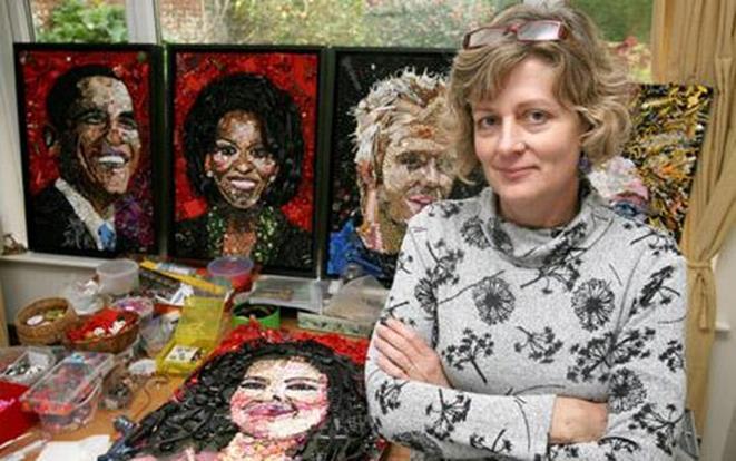 Всемирно известные портреты из мусора и колбасы. Работы Джейн Перкинс