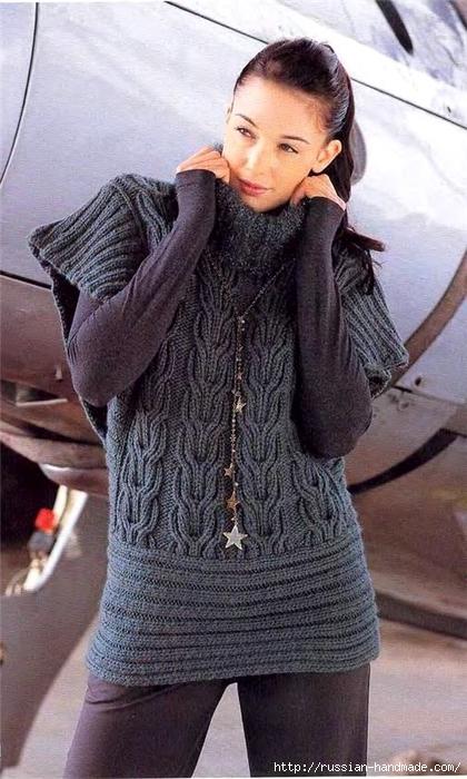 Вязание спицами. Теплая безрукавка (1) (420x700, 247Kb)