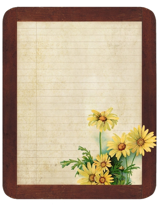 Chalkboard ~ lined paper yellow daisies ~ lilac-n-lavender (541x700, 260Kb)