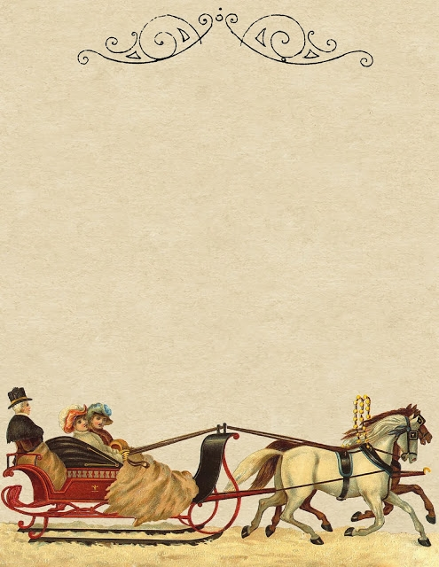 Sleigh ride ~ printable stationery ~ lilac-n-lavender (495x640, 214Kb)
