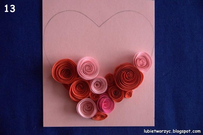Валентинка из бумажных розочек для создания панно или открытки ручной работы (14) (700x465, 241Kb)